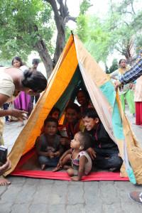 12 Kids inside a shelter